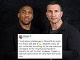 wladimir klitschko rules out ring return to fight anthony joshua in a rematch