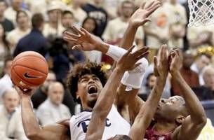 trey mcgowens leads pitt to 75-62 upset of no. 11 fsu