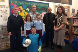 Quarter Primary School show off new football strips