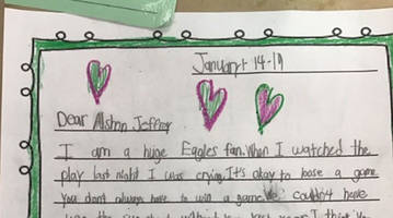 young eagles fan writes to alshon jeffery after drop: 'you are an awesome player no matter what'