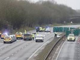 chaos at stansted airport after lorry and motorbike crash closes m11