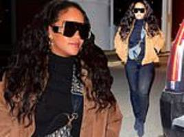 rihanna shows off curves in black skinny jeans and suede jacket for late night trip to the dentist