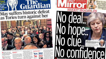 Newspaper headlines: Theresa May's 'historic' Brexit vote defeat