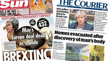scotland's papers: may's deal 'brextinct' and fife body find