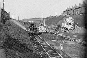 great archive photo shows work on leicester railway underpass in 1932