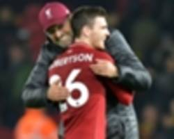 'everything about him screams liverpool' - klopp delighted with new robertson contract
