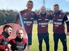 david villa joins up with andres iniesta and lukas podolski for first vissel kobe session