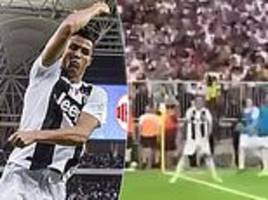 Moment crowd join in with Cristiano Ronaldo's trademark celebration during Italian Super Cup win