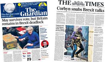 newspaper headlines: corbyn's 'snub' amid brexit deadlock