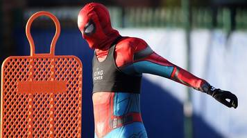 leicester city: jamie vardy dresses as spiderman at training