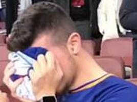 sergi roberto super fan reduced to tears as the barcelona defender throws him his shirt