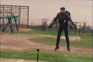 video of 'rocket man' testing jet pack at lympstone marine camp goes viral