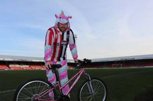 why giant unicorns will be cycling from grimsby to lincoln tomorrow on a children's bicycle