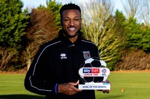 grimsby town striker wes thomas wins goal of the month award