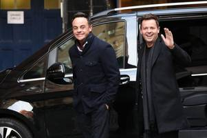 ant mcpartlin all smiles as he reunites with dec donnelly for britain's got talent auditions