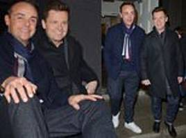 ant mcpartlin and declan donnelly look delighted following a successful first day of bgt rehearsals