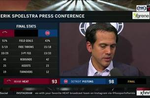 Erik Spoelstra discusses loss to Pistons, Heat's free-throw struggles in Detroit