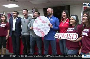 Rangers Winter Caravan visits young athletes at Southwest High School