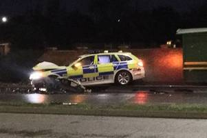 several collisions as police chase car through braunstone, enderby and oadby