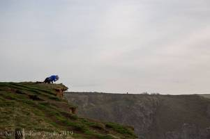 coastal path at bedruthan steps in cornwall disappears due to erosion