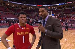 anthony cowan talks with jim jackson after a strong showing against ohio state