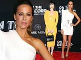 kate beckinsale leads the red carpet glamour as she joins rumer willis at on the record bash