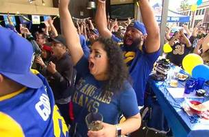 watch rams fans celebrate their first touchdown of the nfc championship game vs. the saints