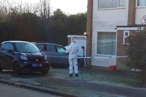 pictures show forensics at scene of late night stabbing on residential road near brentwood