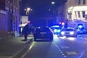 'heavily blood-stained' man found outside pub after stabbing