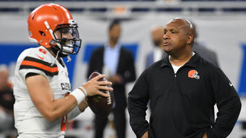 watch: baker mayfield disses hue jackson on fox pregame: 'anything is better than hue'