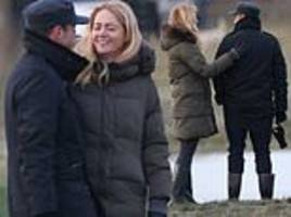 ant mcpartlin and anne-marie corbett take dog hurley for a walk