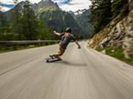 teenage adrenaline junkie skateboards downhill at 68mph along winding roads through the french alps