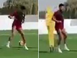fans excited as alex oxlade-chamberlain seen in liverpool training