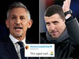 Watford and Gary Lineker engaged in Twitter spat over an old tweet