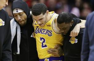 lakers' ball to miss 4 to 6 weeks with sprained left ankle