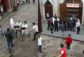chinese shop owners stop machete attack with nifty man catchers