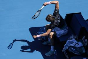 watch: angry zverev smashes racquet after defeat
