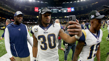 Rams RB Todd Gurley Trolls Saints Fans with Doctored Photo of Uniform Exchange with Referee