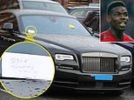 paul pogba's rolls royce left with parking ticket and angry note written by disgruntled passerby