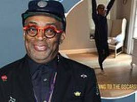 spike lee jumps for joy as he receives his first academy award nomination for directing