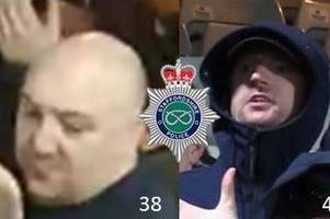 police appeal to trace two more men following disorder at potteries derby