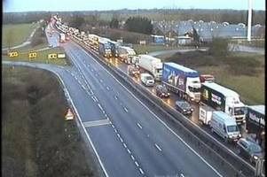live a14 traffic: part of the road closed after early morning crash
