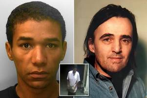 thug killed sleeping homeless man by dropping paving slab on his head four times