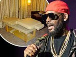 Inside R. Kelly's studio where there is a massage table, wet bar, sauna and mattresses  on the floor