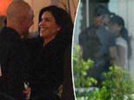 jeff bezos and lauren sanchez seen cuddling in front of los angeles restaurant
