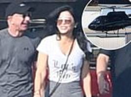 Jeff Bezos and mistress Lauren Sanchez take helicopter to hike in Malibu, go to spa and her home