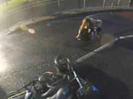 motorbike smashes into woman and sends her flying in london