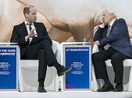 prince william adopted role of waiter taking order as he interviewed sir david attenborough in davos
