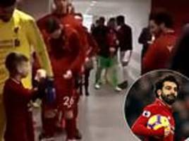 excited liverpool mascot chants mohamed salah's name in anfield tunnel