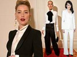 Amber Heard power dresses with Celine Dion and Michelle Dockery at the Giorgio Armani show